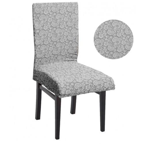 Σετ 6τμχ. καλύμματα Καρέκλας με Σχέδιο Flower Σε Γκρι Ανοιχτό FLK-LG-S880