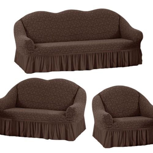 Σετ 3τμχ. Ελαστικά Καλύμματα Καναπέ με Σχέδιο Flower ( Τριθέσιο - Διθέσιο - Πολυθρόνα ) Καφέ FLK-Β-S008