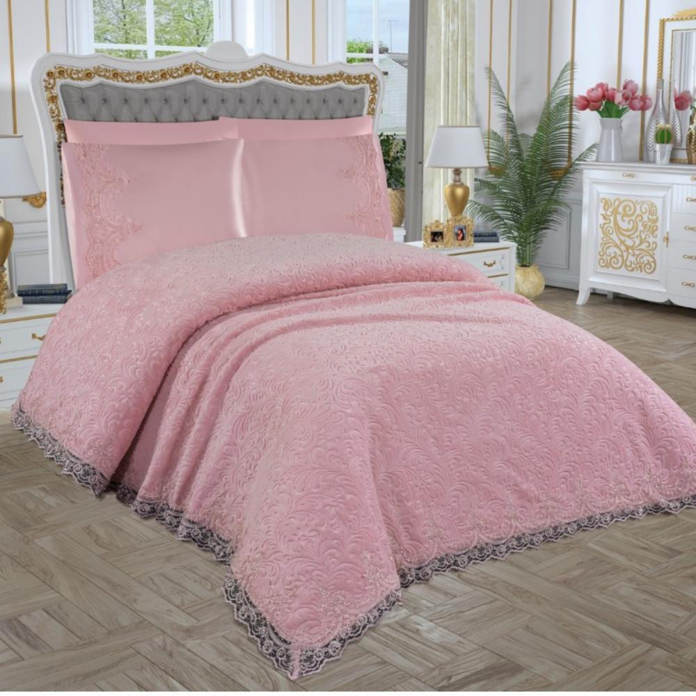 Σετ 6τμχ. Κουβέρτα Με δαντέλα 230x245 Σε Ροζ RMC-03