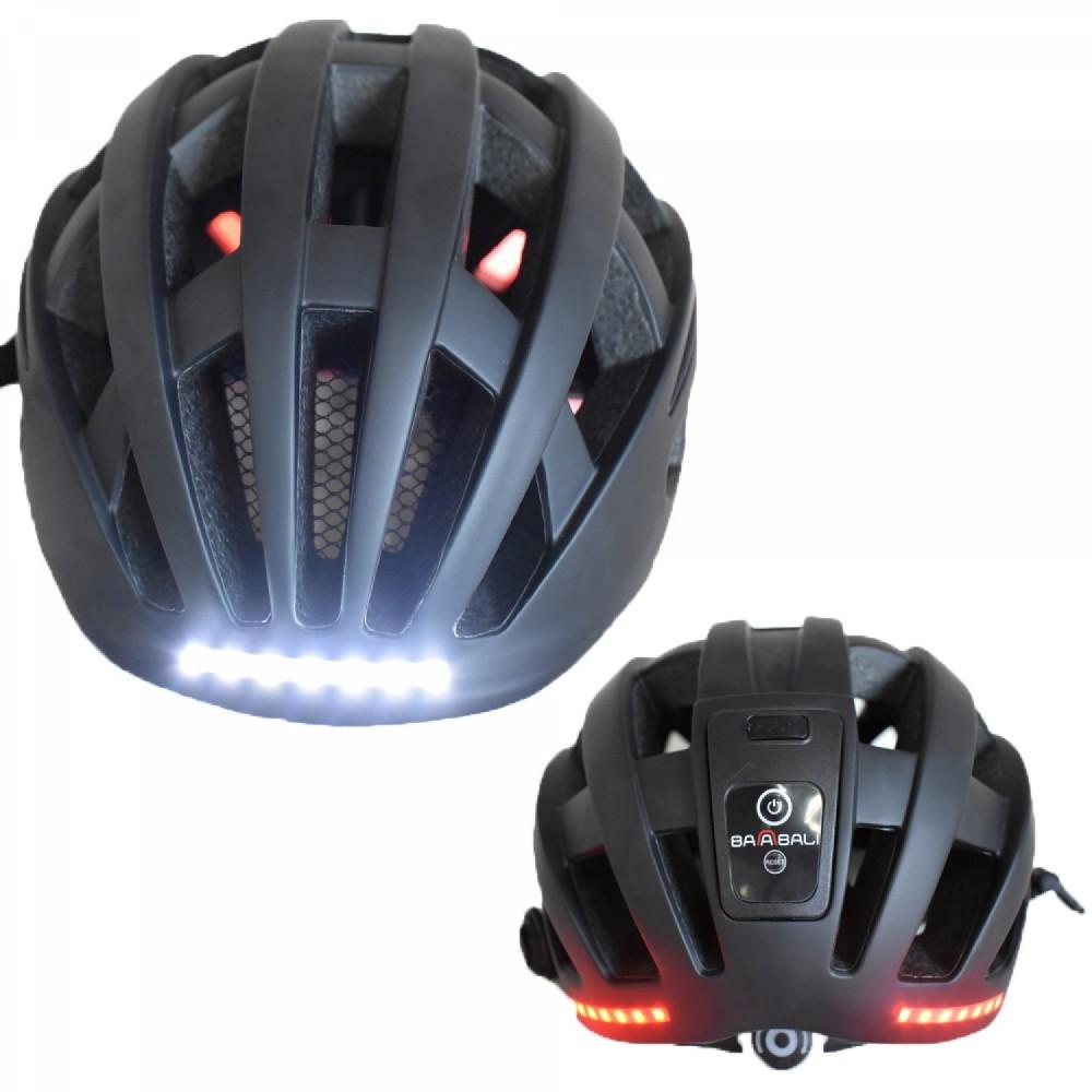 Κράνος Ποδηλάτου με Φωτάκια μπρος και πίσω Επαναφορτιζόμενα με USB KS10 matt Black