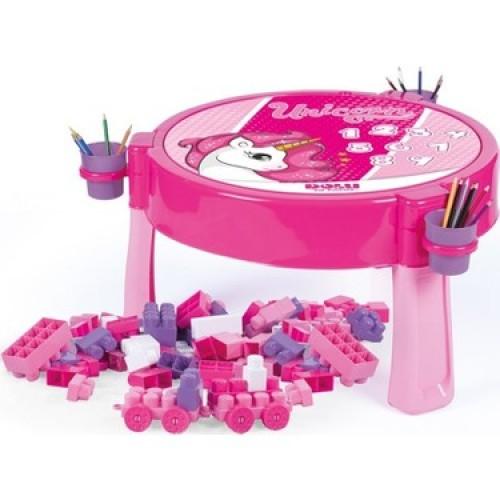 Παιδικό Τραπέζι 2 Σε 1 Με 100 Τουβλάκια Unicorn 2572