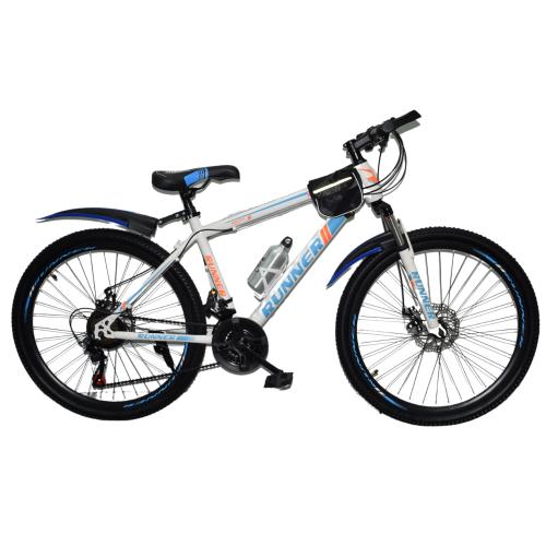 Ποδήλατο Mountain Hardtail 26″ Runner ( Με Αξεσουάρ ) Λευκό - Μπλε RN-805