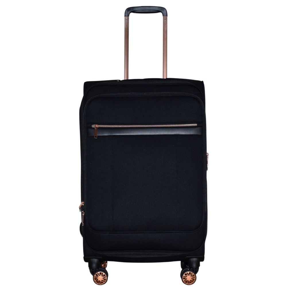 Βαλίτσα Ταξιδιού Μεσαία Υφασμάτινη με Τηλεσκοπικό Χερούλι και Ροδάκια σε Μαύρο χρώμα MS1527R-M