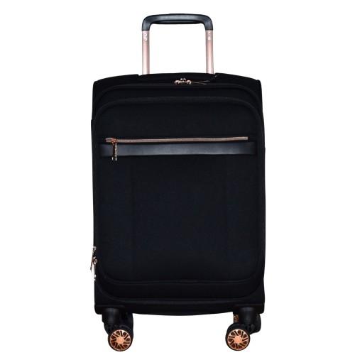 Βαλίτσα Ταξιδιού Καμπίνας Υφασμάτινη με Τηλεσκοπικό Χερούλι και Ροδάκια σε Μαύρο χρώμα MS1527R-S