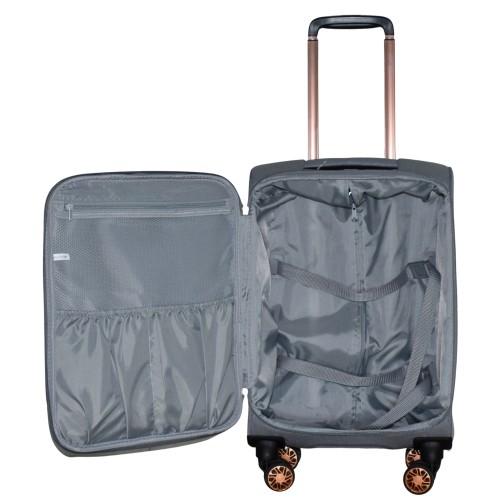 Βαλίτσα Ταξιδιού Καμπίνας Υφασμάτινη με Τηλεσκοπικό Χερούλι και Ροδάκια σε Γκρι χρώμα MS1527R-S