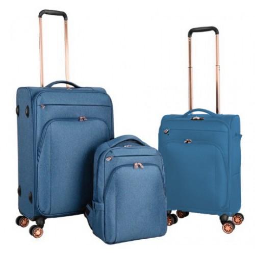 Σετ Βαλίτσες Ταξιδιού Υφασμάτινες 3 τεμαχίων με Τηλεσκοπικό Χερούλι, Ροδάκια και Τσάντα πλάτης σε Μπλε χρώμα MS155108