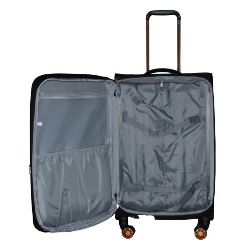 Βαλίτσα Ταξιδιού Μεσαία Υφασμάτινη με Τηλεσκοπικό Χερούλι και Ροδάκια σε Μαύρο χρώμα MS155108-M