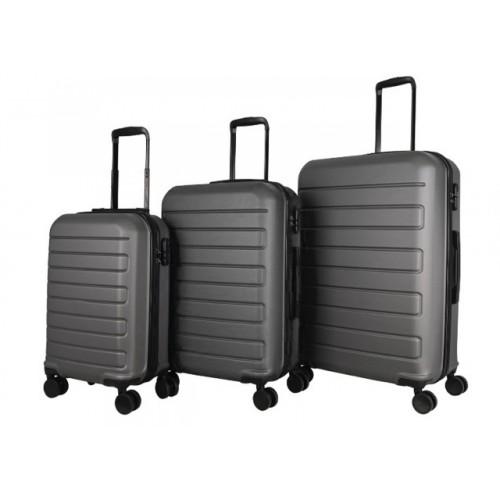 Σετ 3 Βαλίτσες Ταξιδιού ABS με Τηλεσκοπικό Χερούλι, Ροδάκια και Κλείδωμα Ασφαλείας σε Γκρι χρώμα MS2421